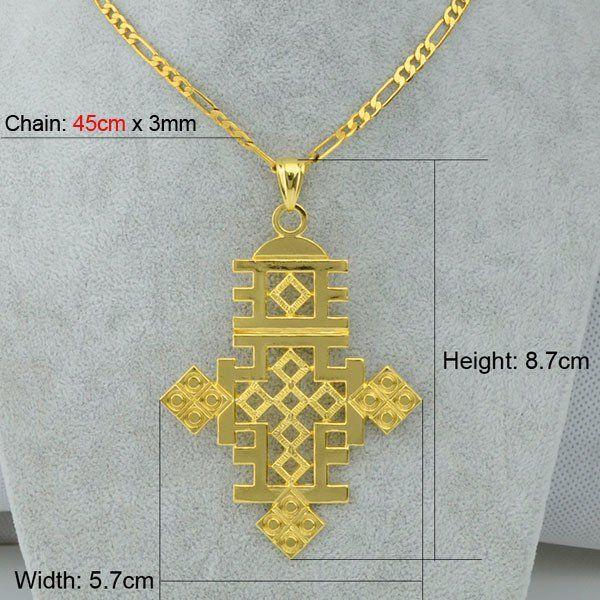 Big Ethiopian Cross Pendant Necklace Chain 24k Gold Plated – Xayvar