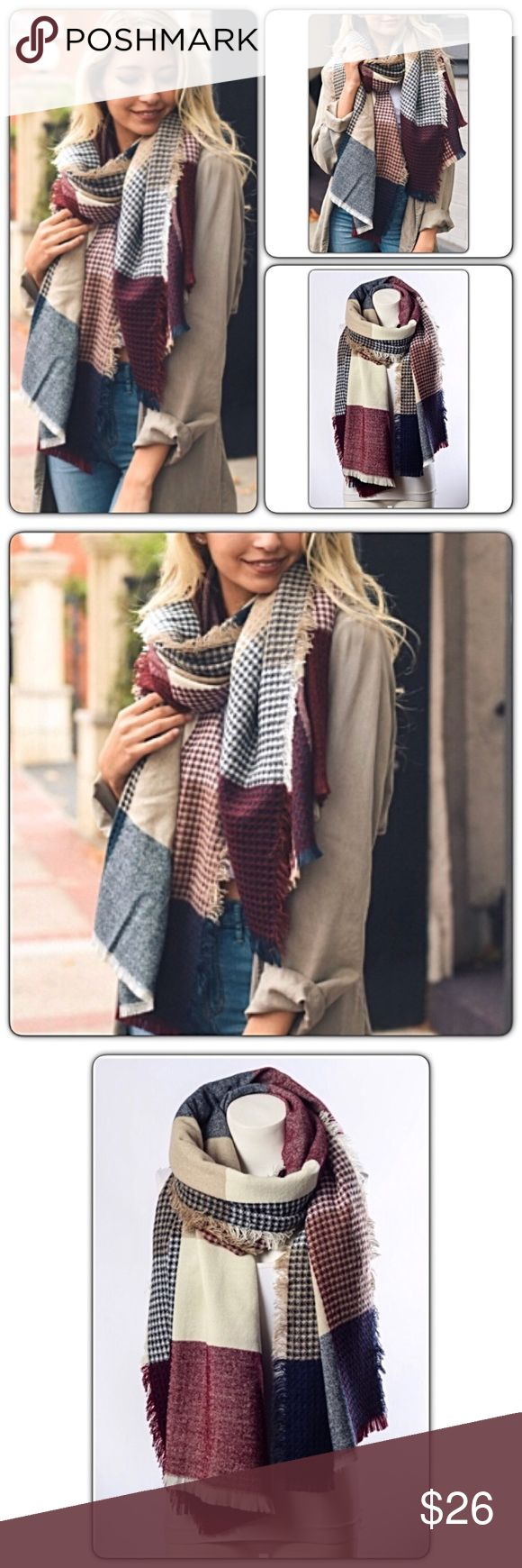 """Beautiful Plaid Waffle Knit Blanket Scarf Wrap Look gorgeous & stay warm this season in this beautiful plaid waffle knit blanket scarf. Makes a great gift. Burgundy, navy, tan & cream 100% acrylic with frayed hem. 79"""" x 28"""" Accessories Scarves & Wraps"""