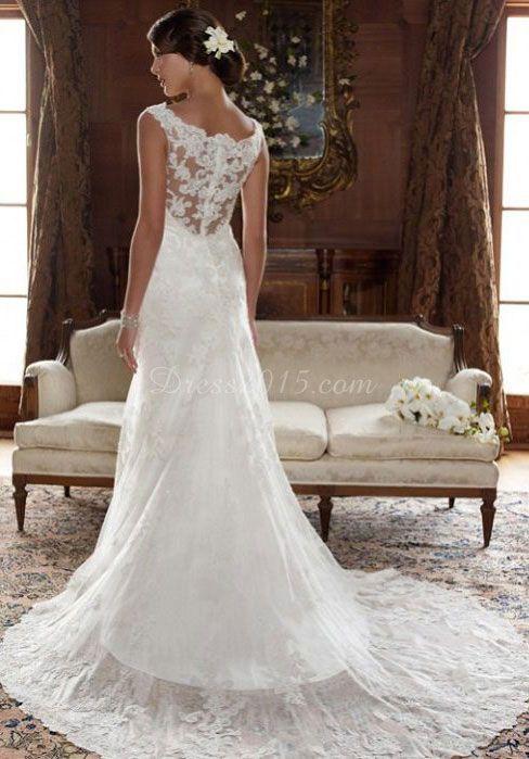 hall scoop draping lace sleeveless wedding dress - uucdress.com