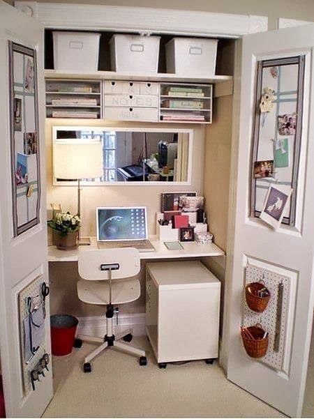 Incredibly creative use of a small space. Brilliant way to hide away a messy office too.