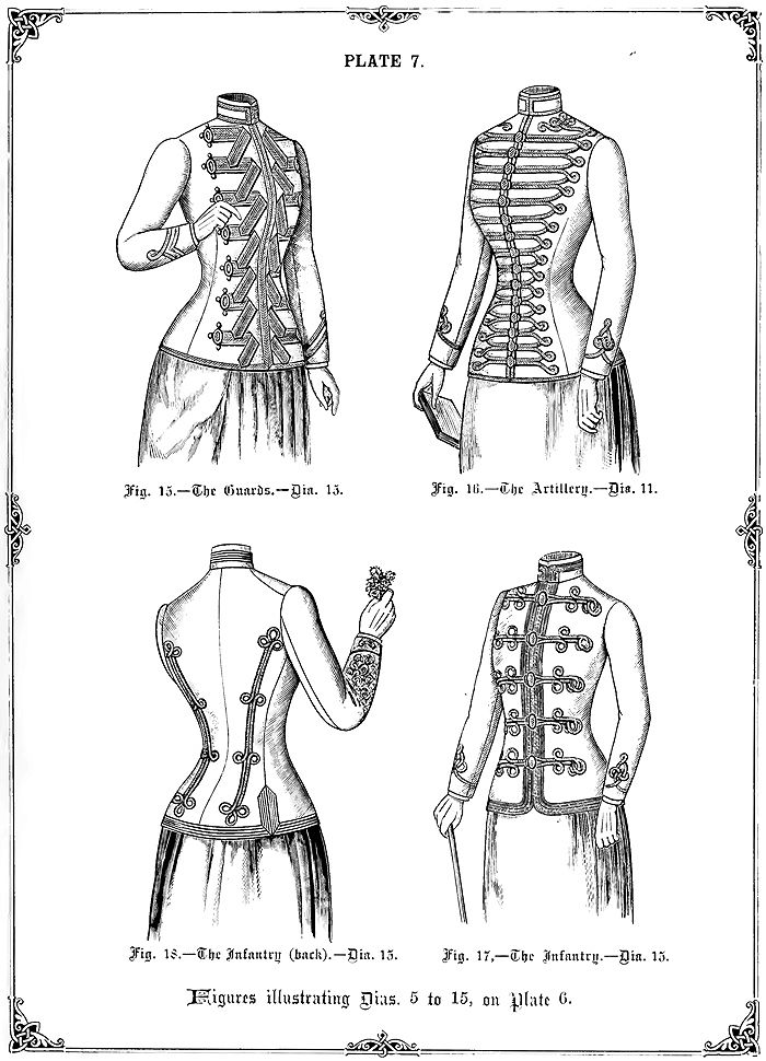 Military styled Ladies' jackets from The Cutter's Practical Guide to the Cutting of Ladies' Garments by W.D.F. Vincent (1890).