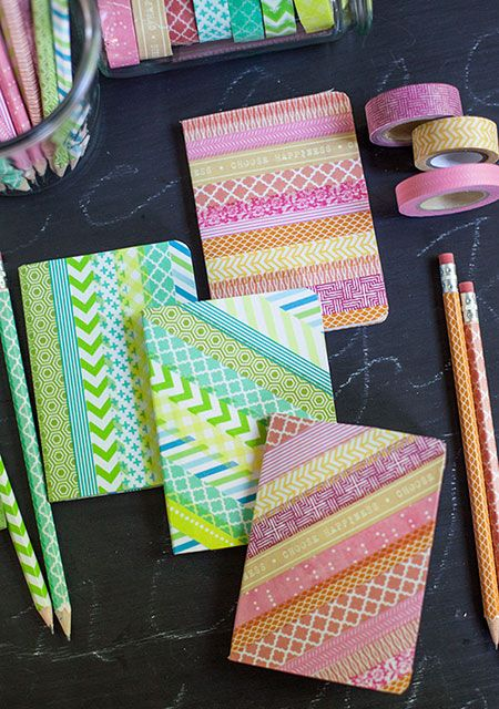 Personaliza tus cuadernos con washi tape - Manualidades para niños - Charhadas.com