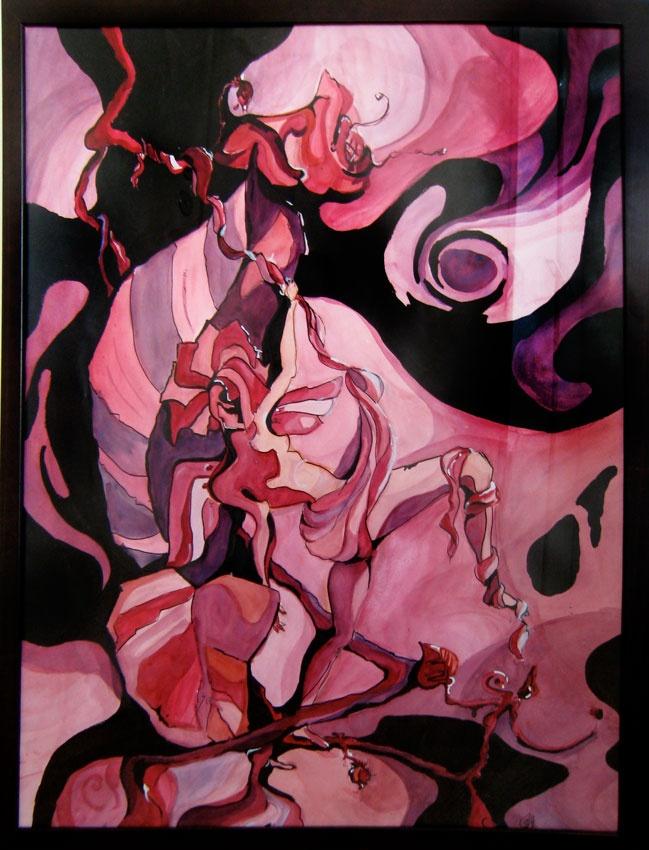 Violetti tanssi, The Purple Dance 2009  64 x 84 cm  vesiväri, intian tussi / watercolors, indian ink