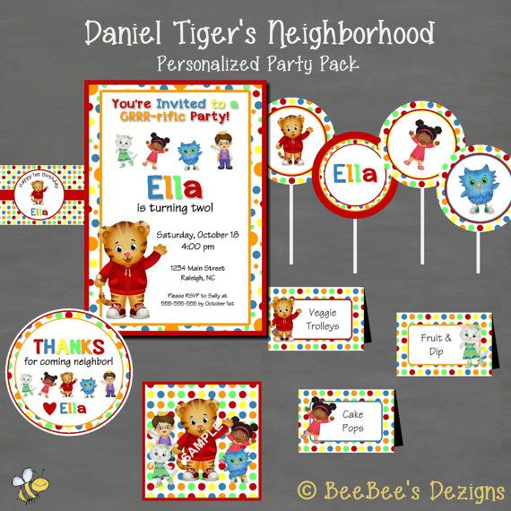 Daniel Tiger Birthday Party InvitationCustom by BeeBeesDezigns