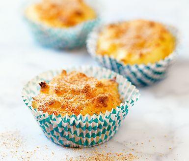 fluffiga potatis muffins! extra smak med en god lagrad ost, utmärkt tillbehör till ugnsbakad lax eller en stekt köttbit. 5 dl potatismos 1 dl riven lagrad ost 1 äggula 1 msk ströbröd