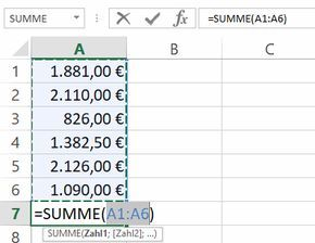 Excel: How to add many cells to a total