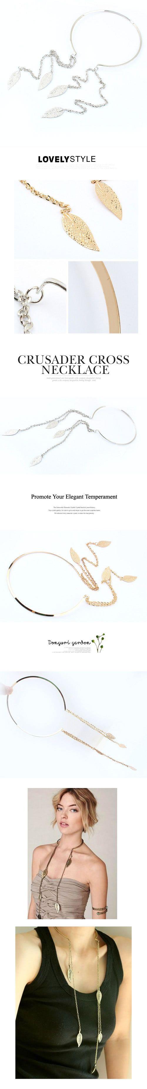 Korean Persoanlity Fashion Leaf Pendant Charm Choker Necklace
