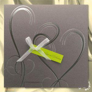 faire part mariage gris iris c urs argent s encart vert mg14 024 2 mariage pinterest. Black Bedroom Furniture Sets. Home Design Ideas
