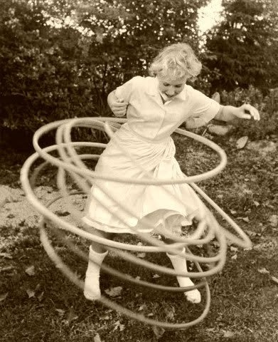 Hula Hoop--too bad this isn't in color. I had several hula hoops; each a different color. It was fun to try to keep them going all at once. It also burned a LOT of calories!