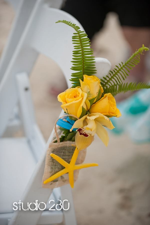 Wedding aisle chair floral bouquet, Starfish aisle chair decor, yellow chair floral decor