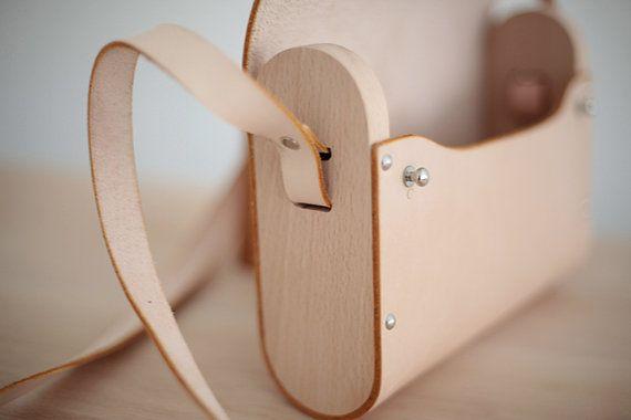 Handmade Minimalist Wood & Leather Shoulder Bag etf2003 by maoship