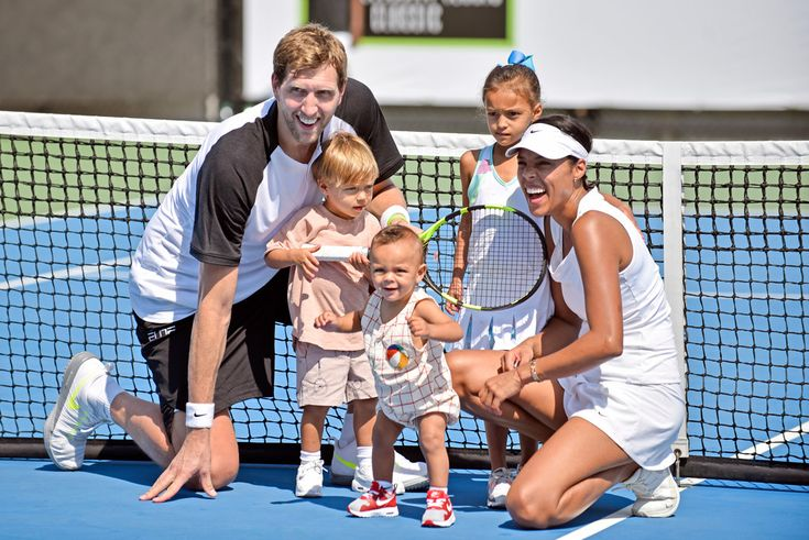 Dallas Mavricks star Dirk Nowitzki with his wife Jessica Olsson and their children Malaika, Max and Morris at a tennis fundraiser #love #wmbw #bwwm #swirl #biracial #mixed #lovingday #relationshipgoals