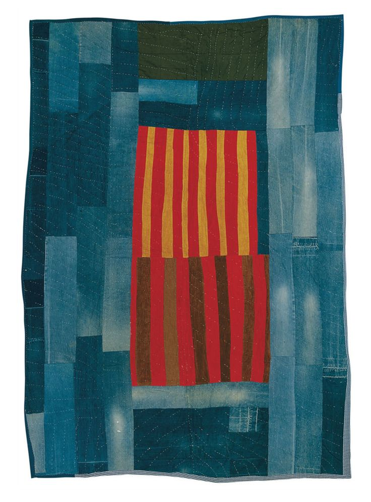 Work-clothes quilt with center medallion of strips | Souls Grown Deep Foundation