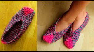 tejiendo peru pantuflas tejidos con dos agujas - YouTube