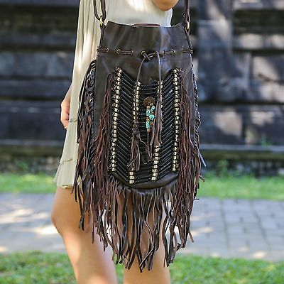 Boho Bag with Real Leather | Fringe Purse | Bohemian Fringed Handbag | Hobo Bags