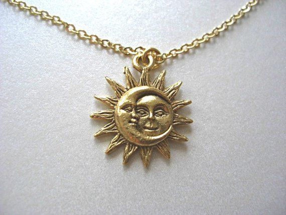 Gold Sun and Moon Pewter Charm Celestial Dainty Necklace, 24kt gold plated charm – Love & Friendship, Soulmate, Gift for her
