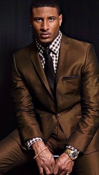 Men's Brown Suit, White and Brown Gingham Dress Shirt, Dark Brown Tie, Dark Brown Pocket Square♛   ♛~✿Ophelia Ryan ✿~♛