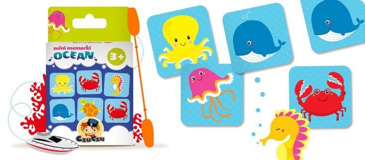 Połączcie w pary wesołych mieszkańców oceanu! Gra w memorki ćwiczy pamięć i koncentrację.
