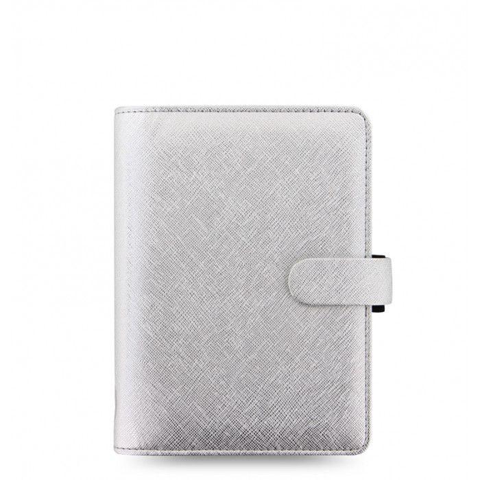 Filofax Saffiano Metallic Personal Organizer in Silver // Originally $59