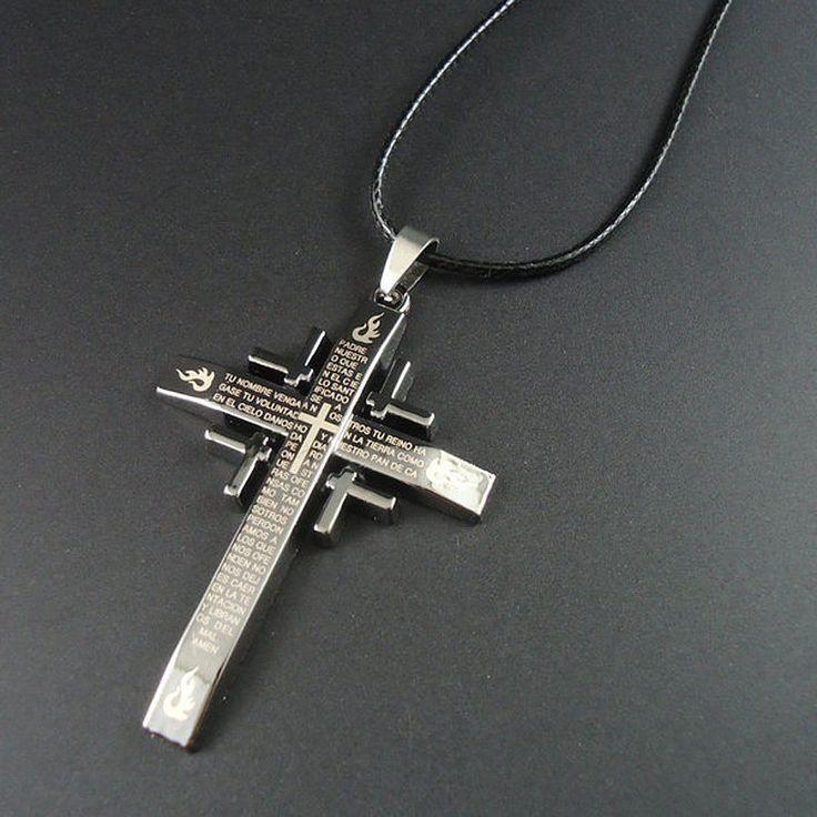 Halskette mit Kreuz Anhänger Kette Kunstleder Kommunion Edel Schmuck Modeschmuck