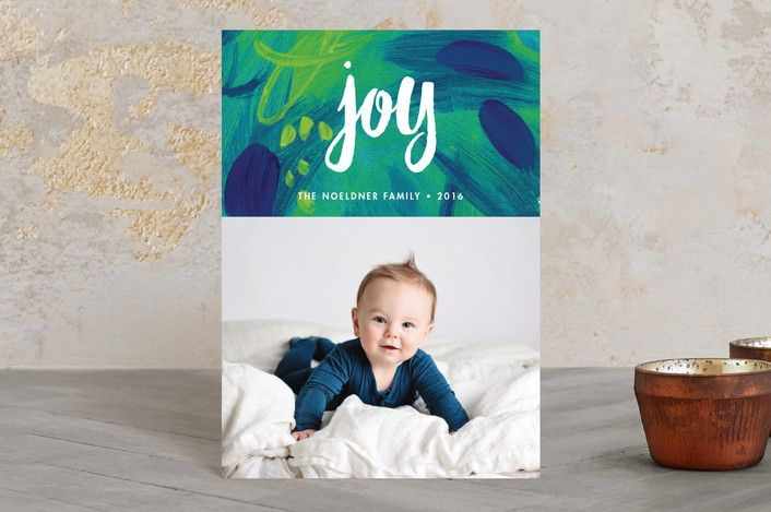 """""""Painted Joy"""" - Abstract, Modern Holiday Postcards in Lagoon by Iron Range Artery."""