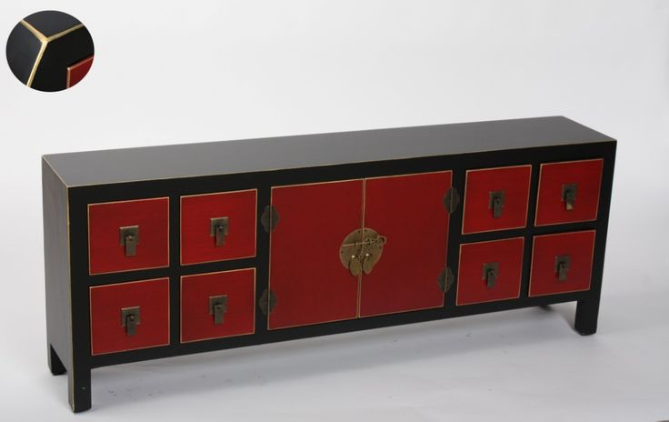 Muebles para el Hogar: Muebles Orientales   Mueble de Tv estilo japones u oriental 4 cajones y 2 puertas MB-97416 Negro y Rojo                                                                                                                                                                                 Más