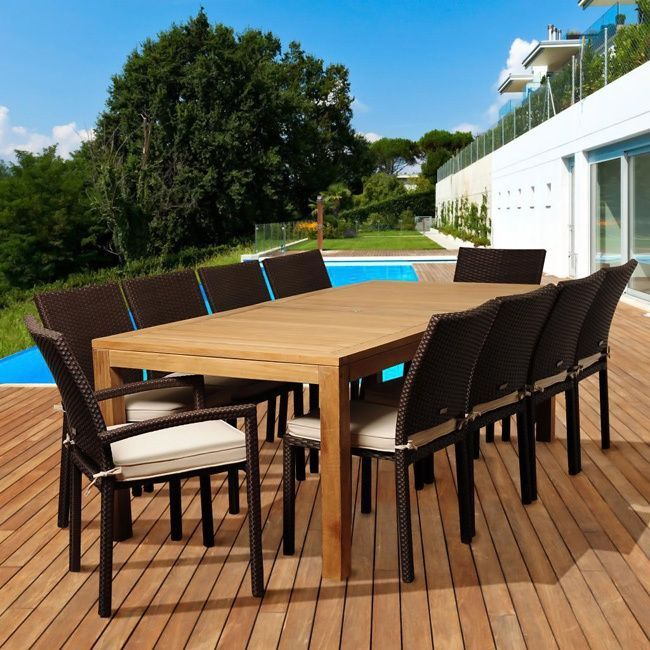 The Monica 11-piece outdoor patio set offers transitional styling and a functional design that is sure to enliven any space. Enjoy your patio in comfort with this alluring dining set, which includes a durable teak wood construction and soft seat cushions.