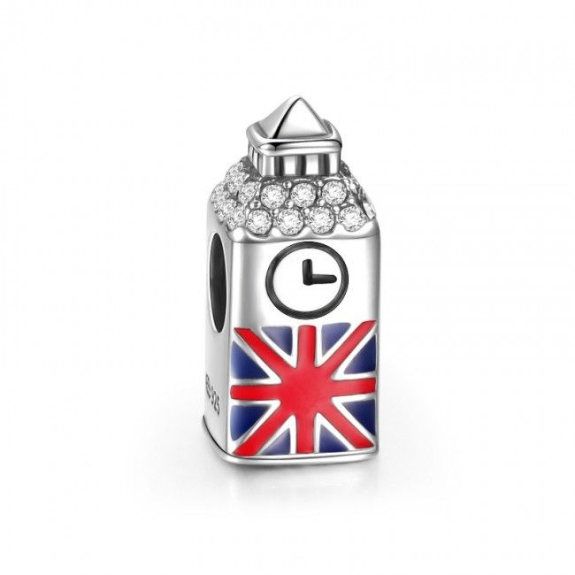 Pingente Big Ben de Prata de Lei 925 - Compatível com as principais marcas