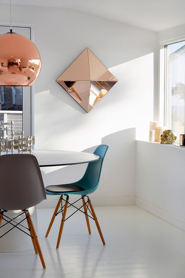 Miroir art déco couleur cuivre Reflections by Hugau / Larsson, design danois.