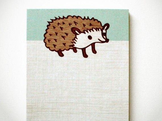 HEDGEHOG NOTE PAD by boygirlparty cute woodland by boygirlparty, $6.00