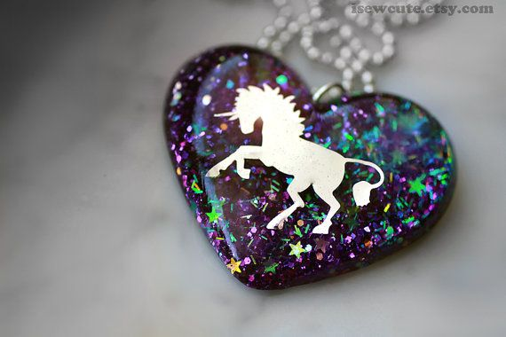 Unicorn Jewelry, Glitter Unicorn Necklace, Purple Heart Sparkly Modern Glitter Pendant Necklace Cute Resin Jewelry Handcrafted by isewcute