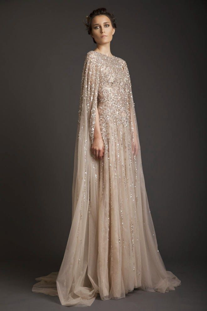 2015 Fall Winter Sequined Tulle Long Evening Dresses Elegant Champagne Modest Prom Evening Gowns With Court Train FM1021