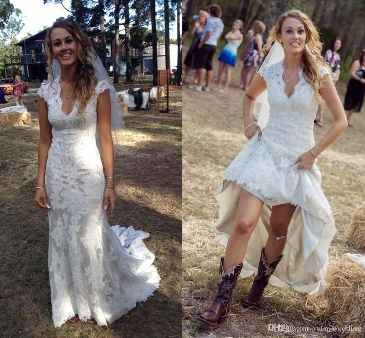 2017 Vintage High Low Country Wedding V Neck Cap Sleeves Custom Made Lace