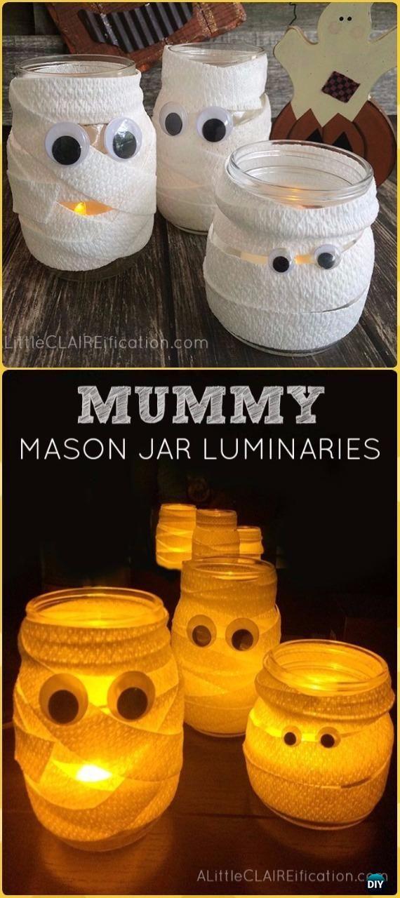 DIY Mummy Mason Jar Luminaries Tutorial- DIY Halloween Mason Jar Craft Ideas Projects