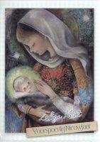 Kerstkaartjes met kindje Jezus en maria