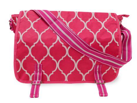 Pink Quatrefoil Messenger Bag