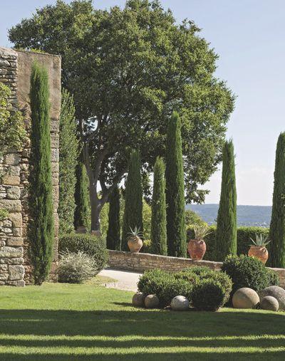 Le jardin bien entretenu d'une maison traditionnelle de l'Uzège. Plus de photos sur Côté Maison http://petitlien.fr/8299