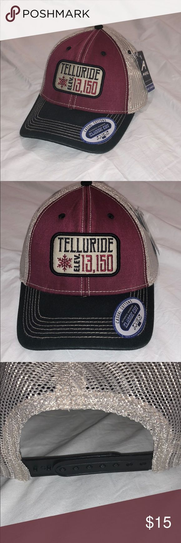 Telluride Vintage Trucker Hat Casual cotton classic cut. Classic cut pattern is sized for average to deeper head death. Worn out vintage look and feel. Ahead Accessories Hats