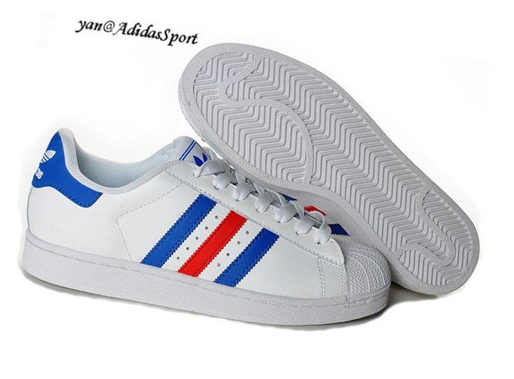 adidas superstar blanche et bleu femme