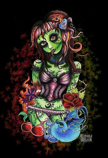 Zombie Little Girl Tattoo Cartoon Zombie pinup |...