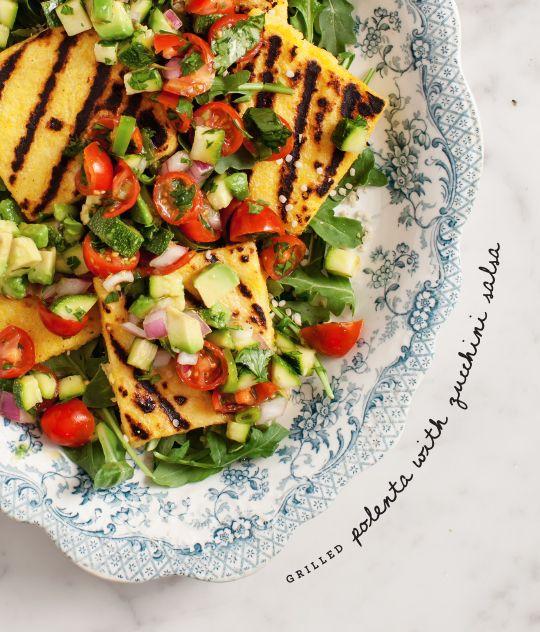 grilled polenta with zucchini salsa / loveandlemons.com
