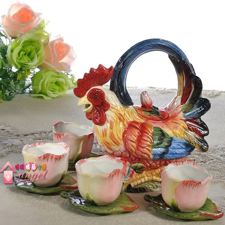 Gallo de cerámica Juegos de Té cafetera de Café y taza de porcelana estatuilla gallo decoración de La Boda artesanías de decoración del hogar decoración de la habitación en Sets Té y Café de Hogar y Jardín