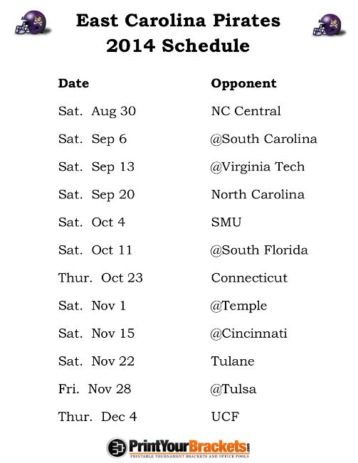 Printable East Carolina Pirates Football Schedule 2014