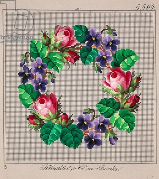 Crown of roses and violets embroidery design, 19th century