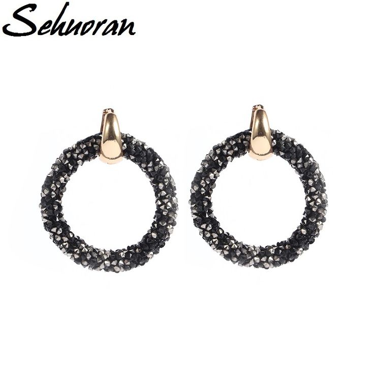 Sehuoran 2017 Hot sale artificial crystal earrings for women oorbellen Two kinds of wear law of Copper buckle round brincos