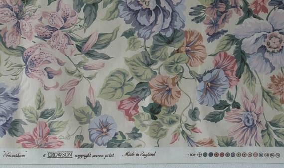 Interior Floral  Fabric Crowson Fabric by CraftSuppliesDesk
