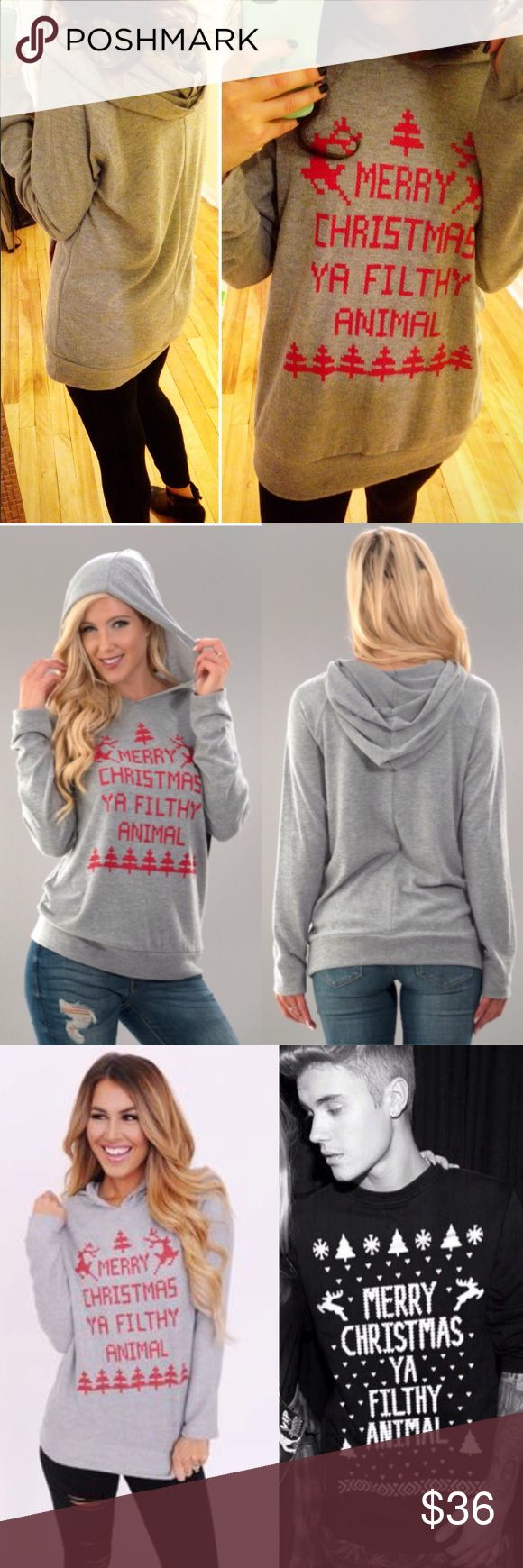 Merry Christmas Ya Filthy Animal Soft Gray Hoodie Adorable soft gray hoodie top mocking the home alone movie! S M L. I'm a size 2 modeling the S. Tops Tunics