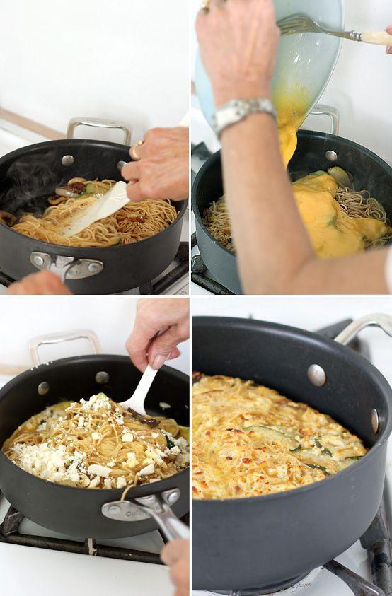 Leftover Spaghetti Frittata via Honest Fare: Delish, Dinner, Brilliant Idea
