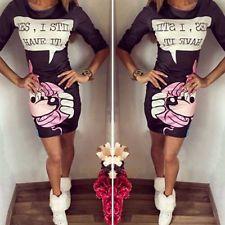 Summer New Casual Cute Classic Cartoon Slim Ladies Women Mini Dress Bodycon