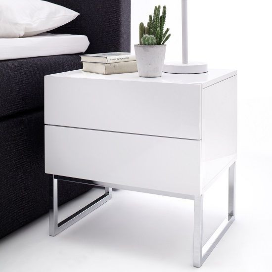 Best Strada Bedside Cabinet In White High Gloss With 2 Drawers 400 x 300